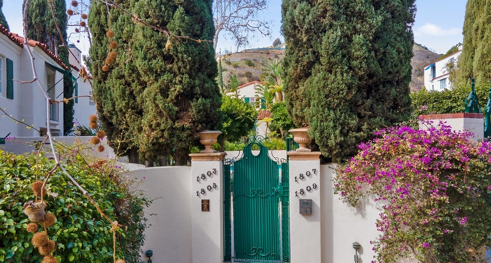 This is the gate of the villa with a green tone, beige concrete fence and tall hedges for privacy. Image courtesy of Toptenrealestatedeals.com.