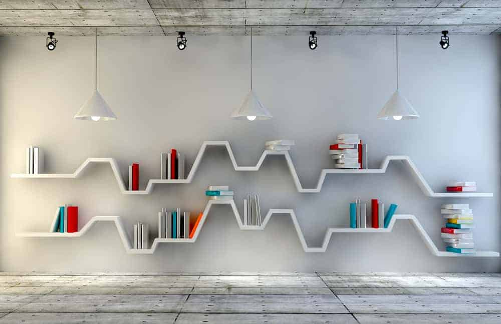 This is a minimalist modern set of floating shelves that follow the tone of the wall.