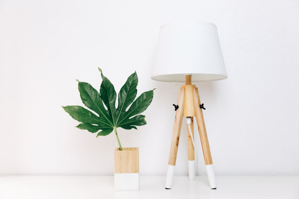 This is a close look at a Scandinavian minimalist-style lamp with wooden legs and white hood. Beside it is a matching wooden flower vase of the same design.