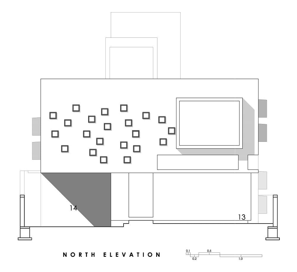 This is an illustration of the house's north elevation.