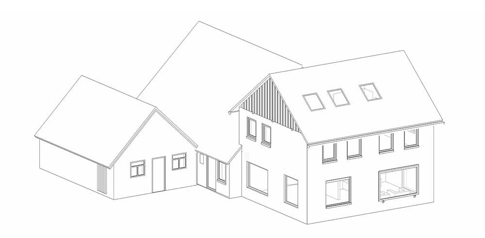This is a perspective sketch of the house before the addition was made.