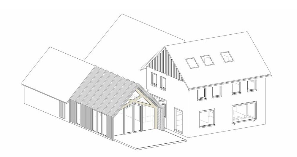 This is a perspective sketch of the house after the addition was made.
