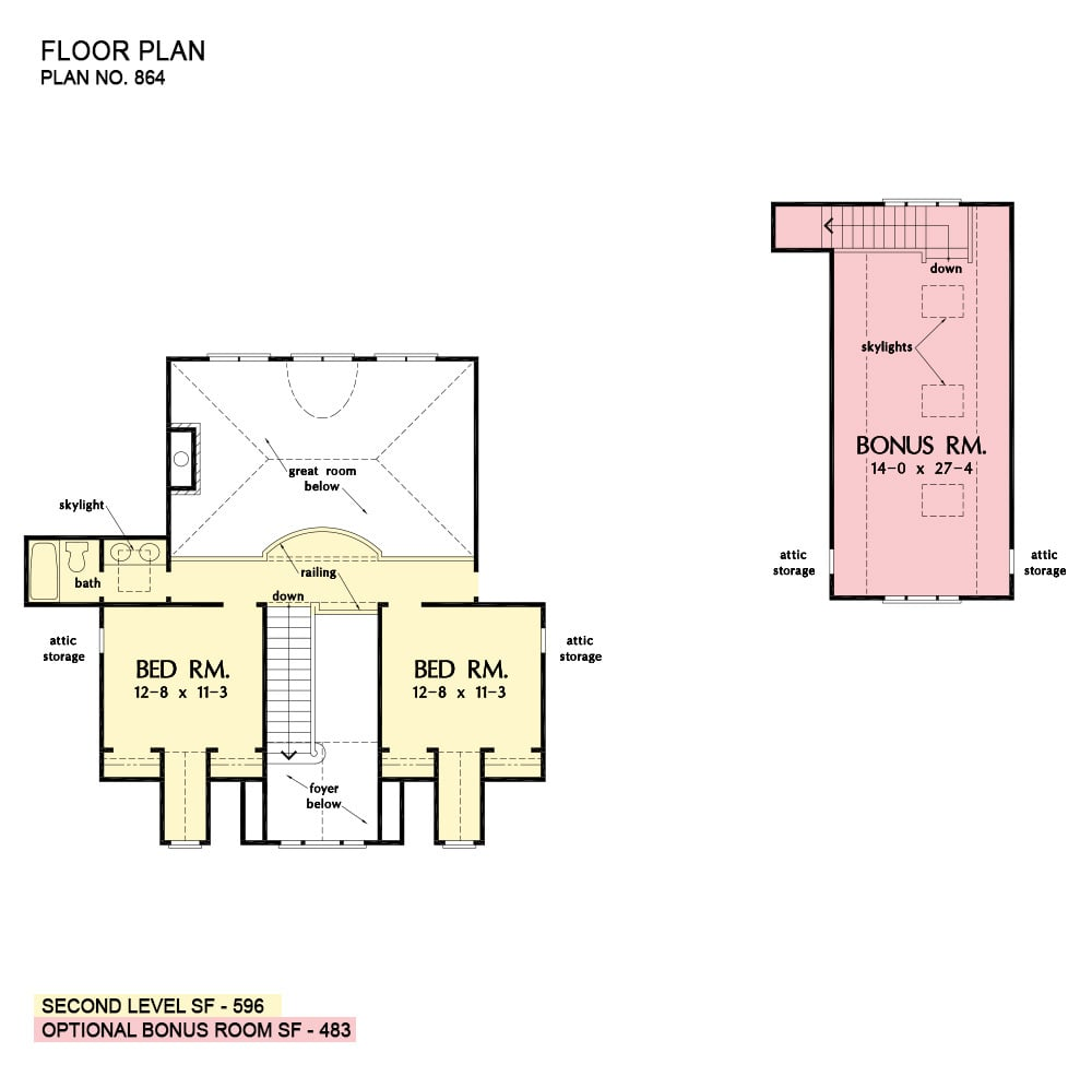 Second level floor plan with two bedrooms and a separate bonus room above the garage.