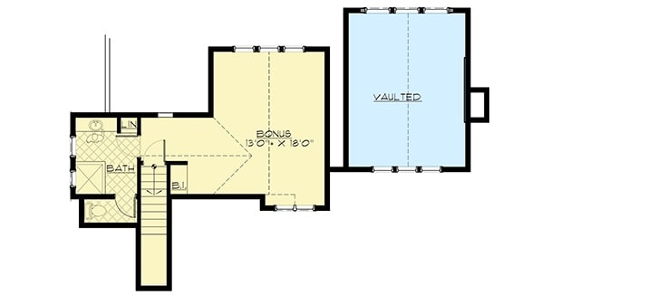 Second level floor plan with a bonus room complete with a closet and full bath.