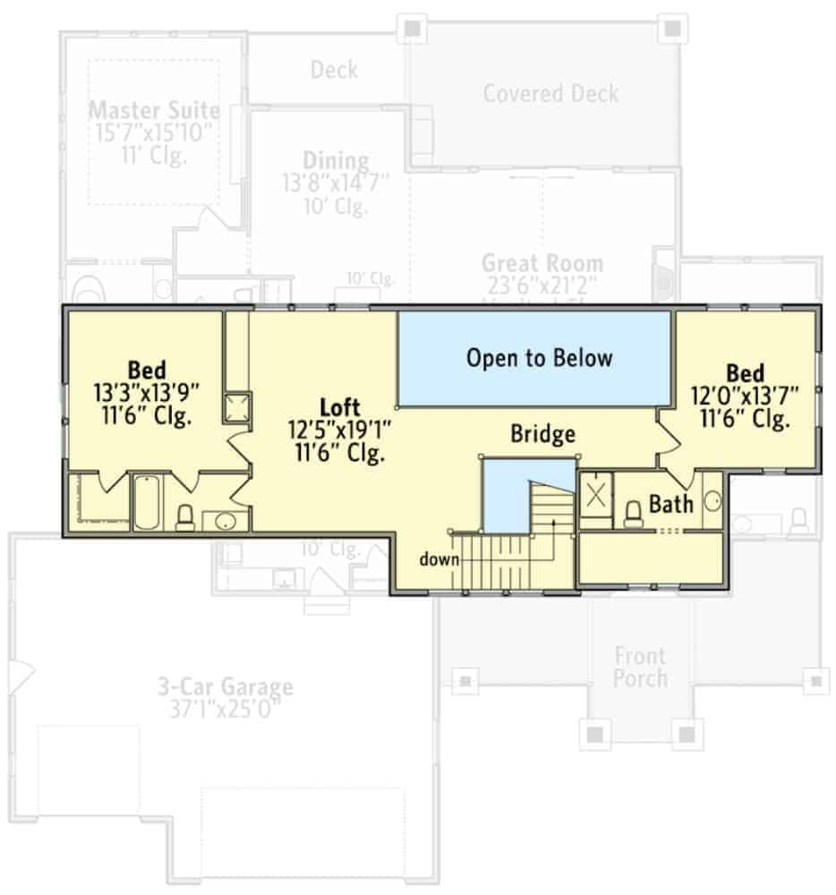 Second level floor plan with two bedroom suites and a balcony loft overlooking the great room below.