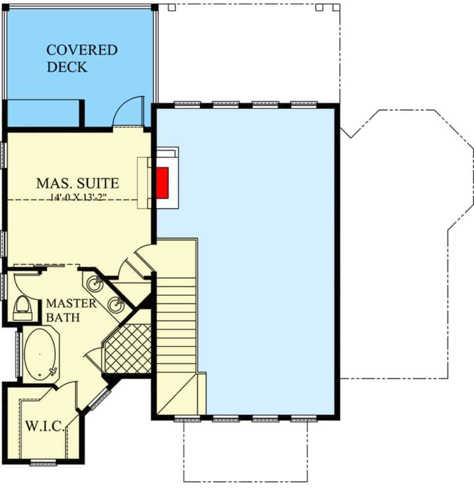 Second level floor plan with primary suite complete with 5-fixture bath and a covered deck.