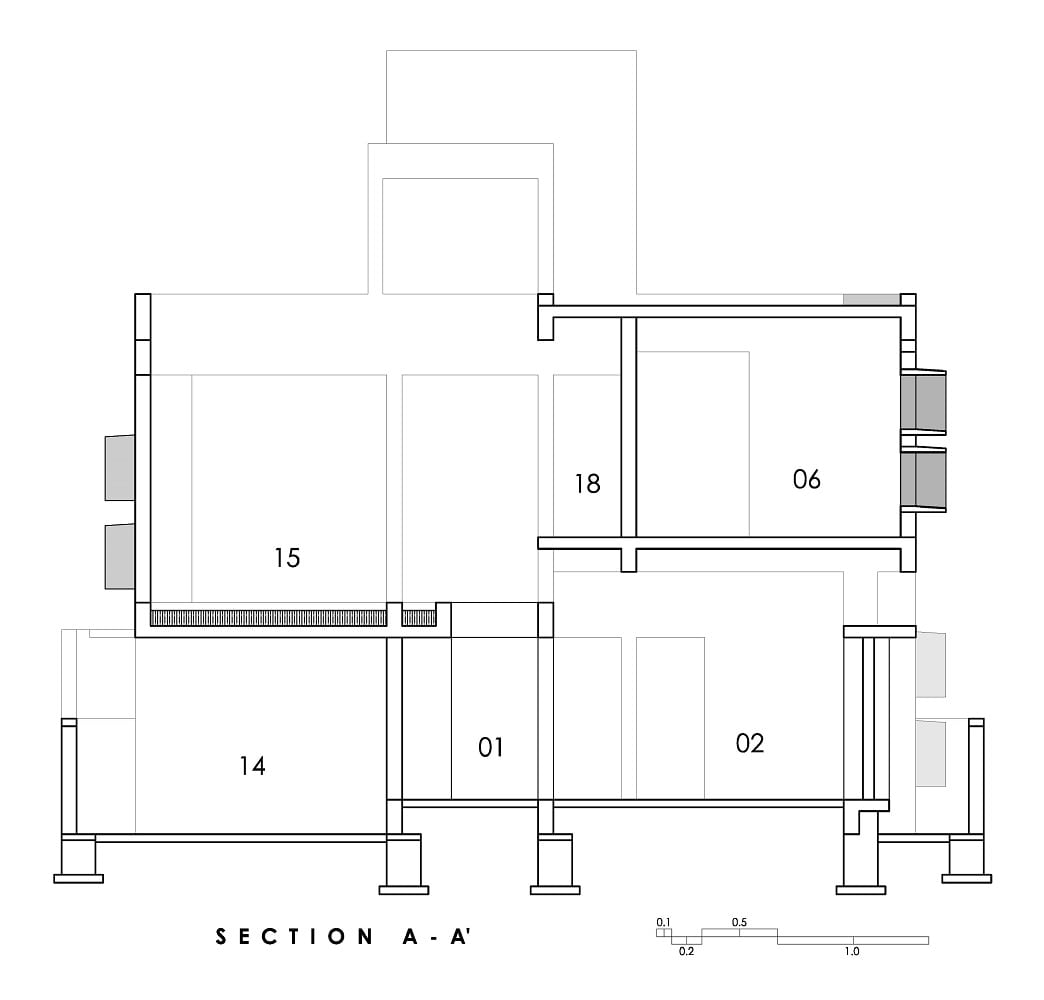 This is an illustration of the house's Section AA cross section elevation.