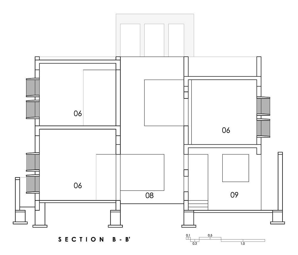 This is an illustration of the house's Section BB cross section elevation.