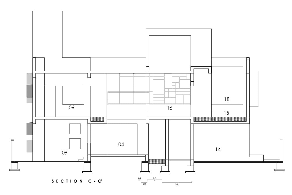 This is an illustration of the house's Section CC cross section elevation.