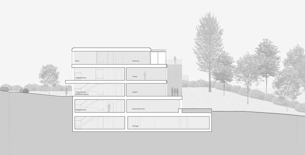 This is an illustration of the house's cross section elevation with sections of the interior.