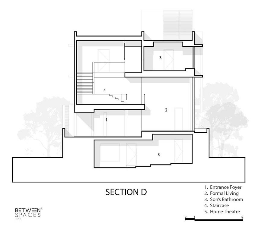 This is an illustration of the house's Section D cross section elevation.