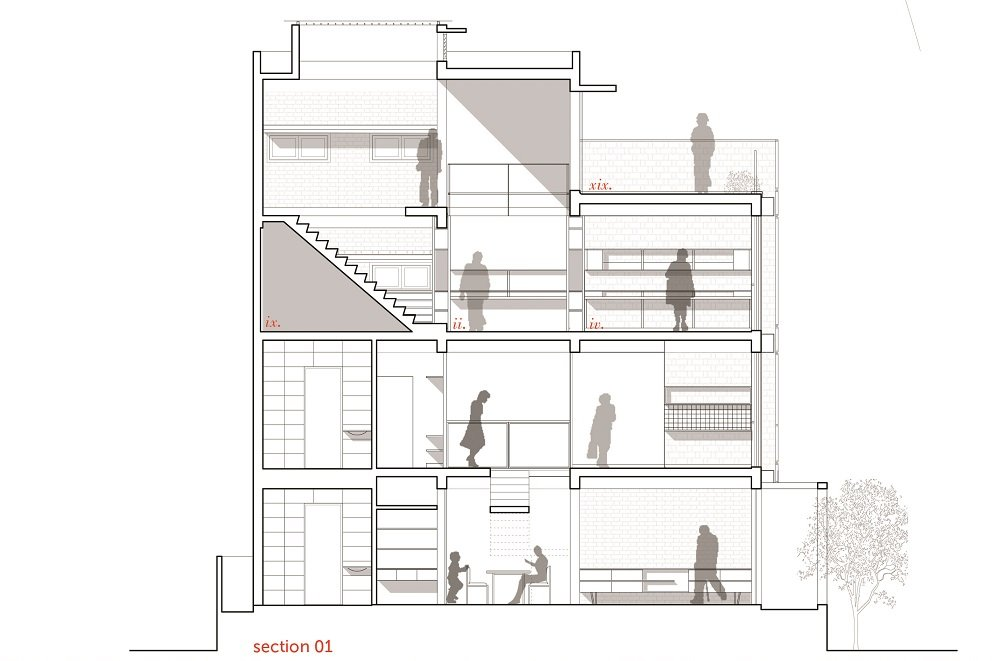 This is an illustration of the house's cross section elevation showcasing the various sections of the house.