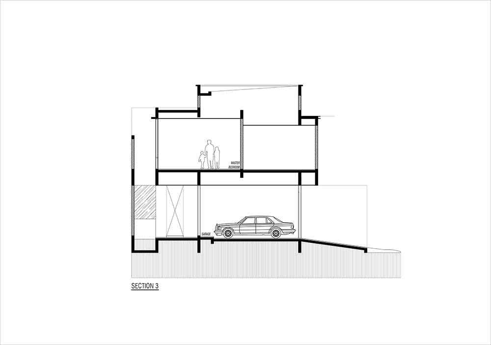 This is the illustration of the house's cross section elevation with the sections of the house interior.