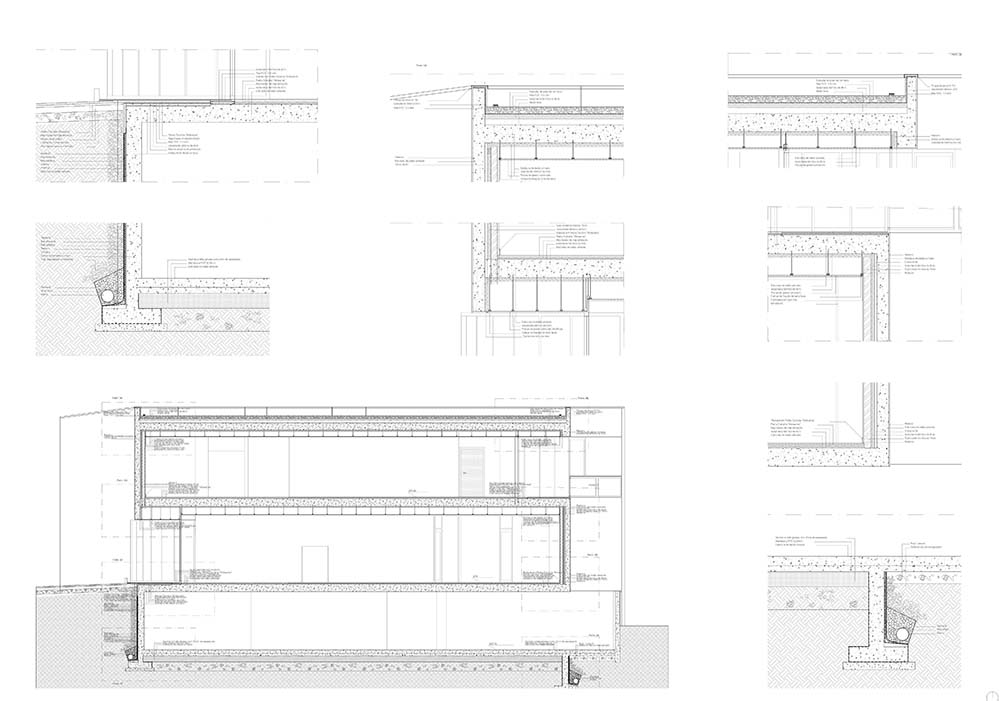 This is an illustration of the house's various elevations, cross sections and sections.