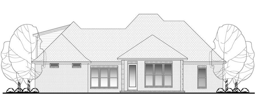 Rear elevation sketch of the single-story 3-bedroom Acadian home.