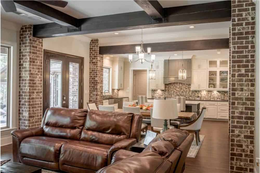 The living room opens completely to the dining area and kitchen.