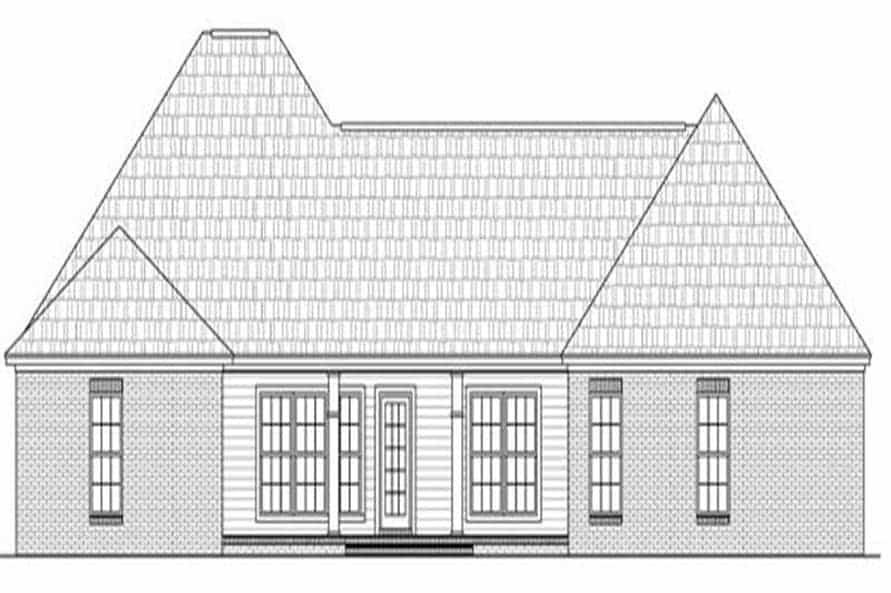 Rear elevation sketch of the single-story 4-bedroom Acadian style home.
