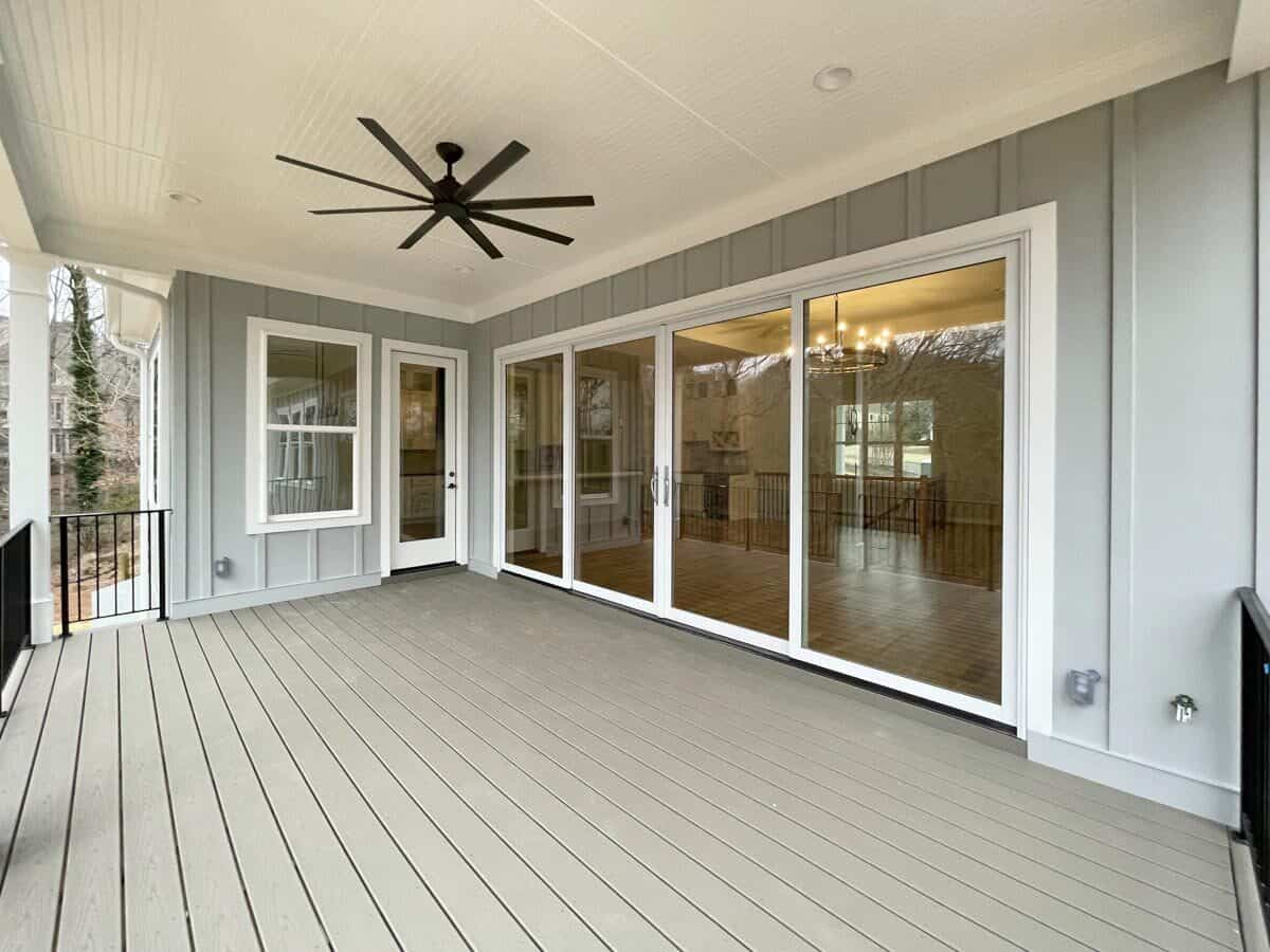 The covered porch can be accessed both by the living room and dining area.