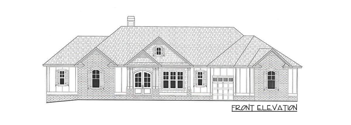 Front elevation sketch of the single-story 4-bedroom country craftsman home.