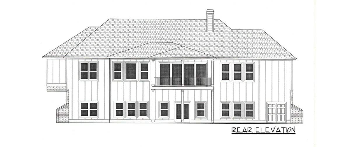 Rear elevation sketch of the single-story 4-bedroom country craftsman home.