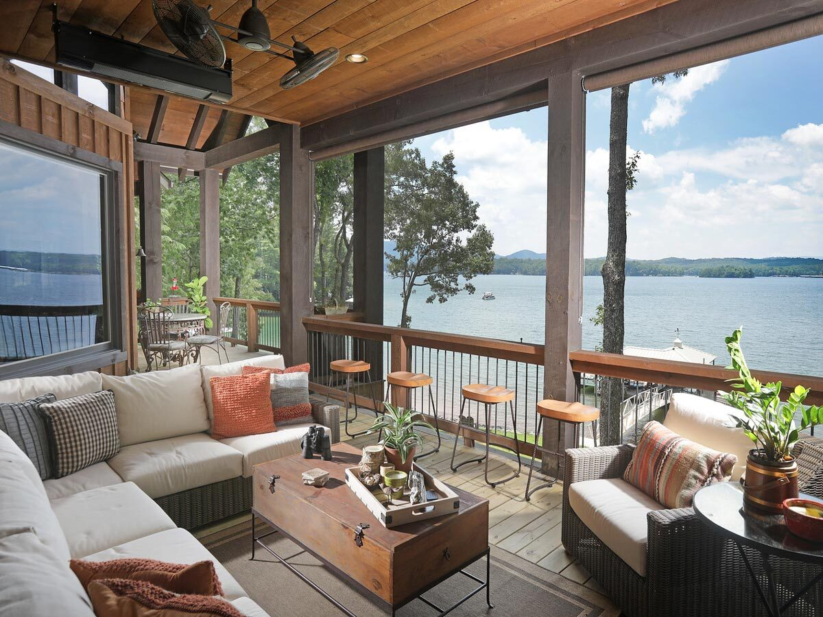 There's also a metal dining set and a breathtaking view of the lake.There's also a metal dining set and a breathtaking view of the lake.
