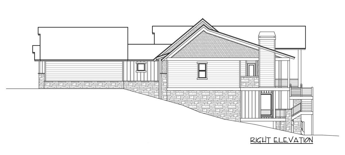 Right elevation sketch of the single-story 4-bedroom craftsman home.