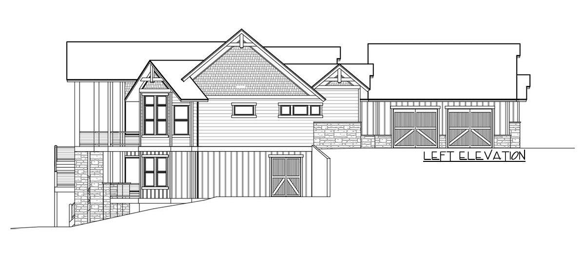 Left elevation sketch of the single-story 4-bedroom craftsman home.