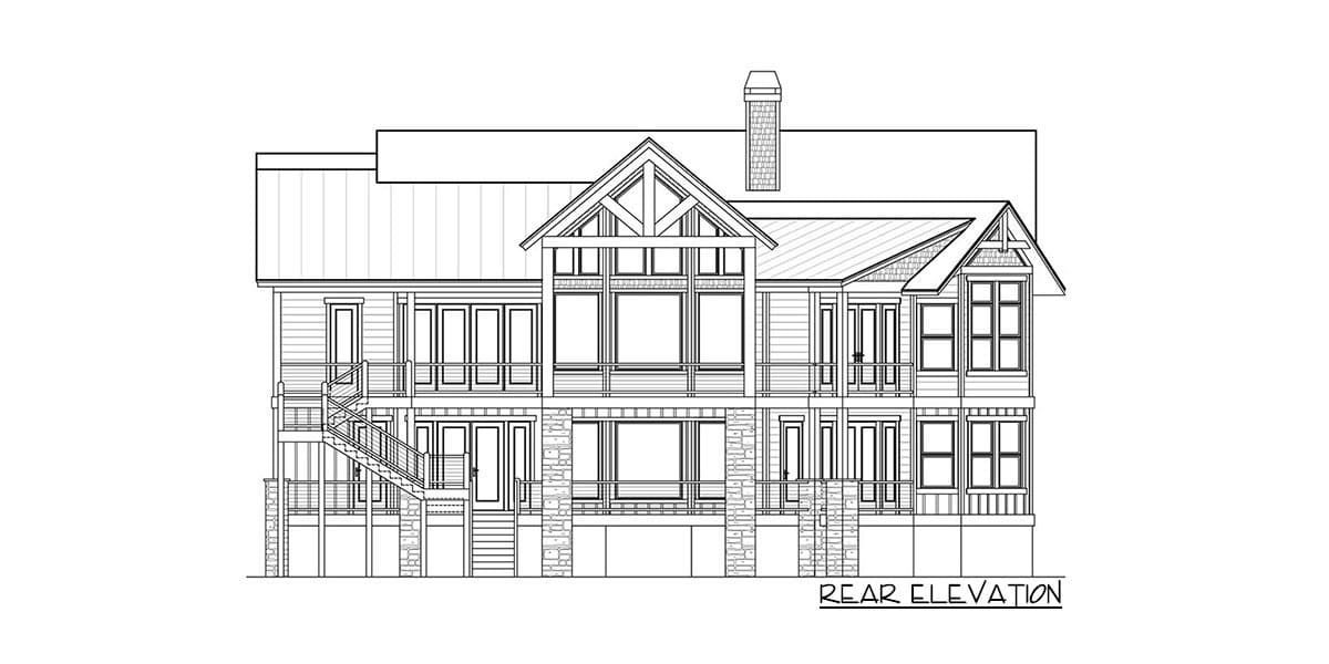 Rear elevation sketch of the single-story 4-bedroom craftsman home.