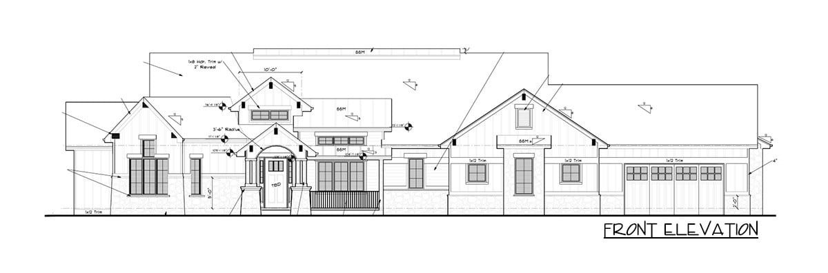 Front elevation sketch of the single-story 5-bedroom New American mountain ranch.