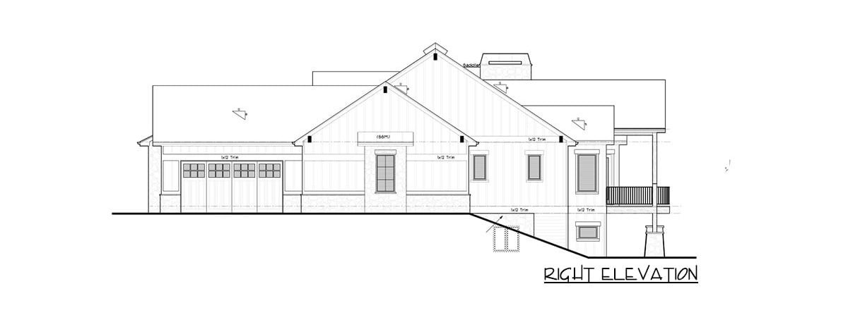 Right elevation sketch of the single-story 5-bedroom New American mountain ranch.