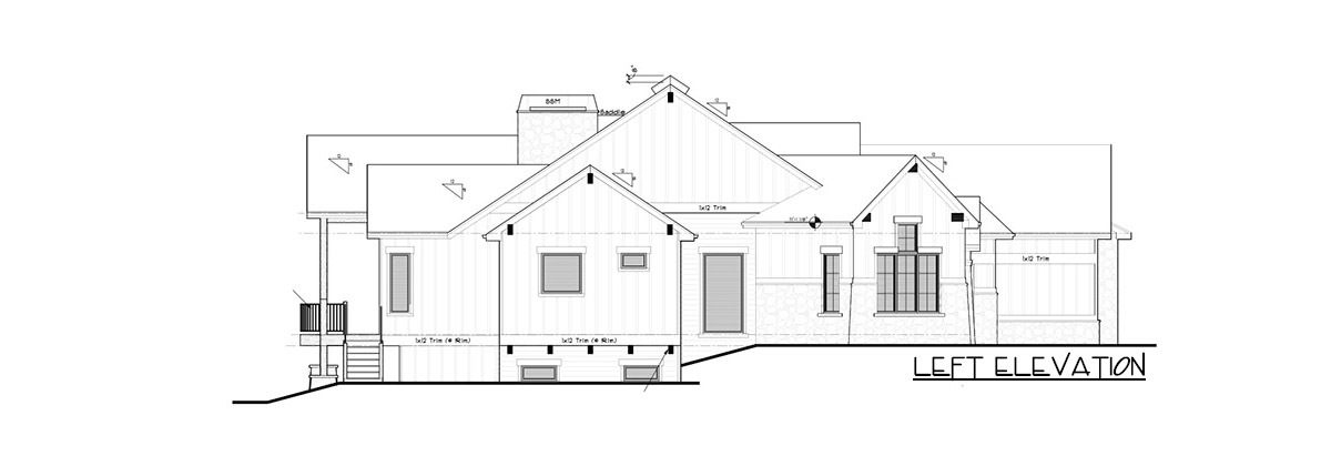 Left elevation sketch of the single-story 5-bedroom New American mountain ranch.