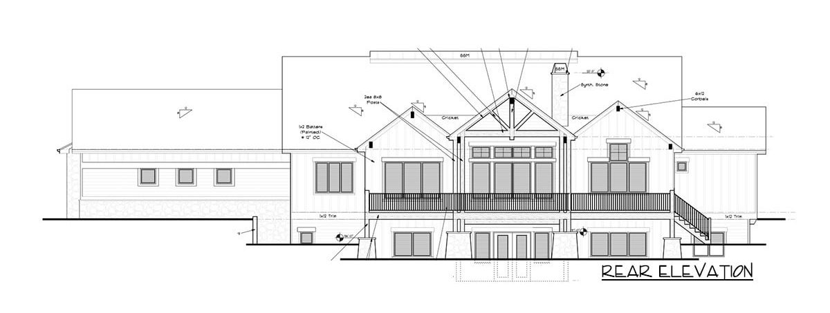 Rear elevation sketch of the single-story 5-bedroom New American mountain ranch.