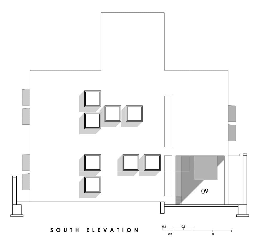 This is an illustration of the house's south elevation.