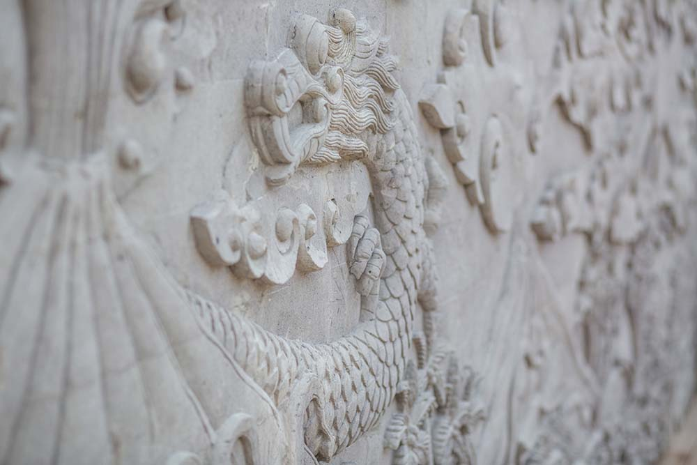 This is a close look at one of the tiny carvings inside the house.