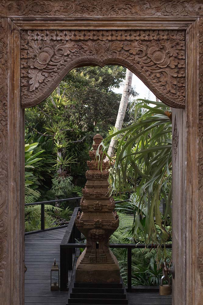Upon entry of the property's outer gate, you are welcomed by this intricate sculpture with multiple tiers.