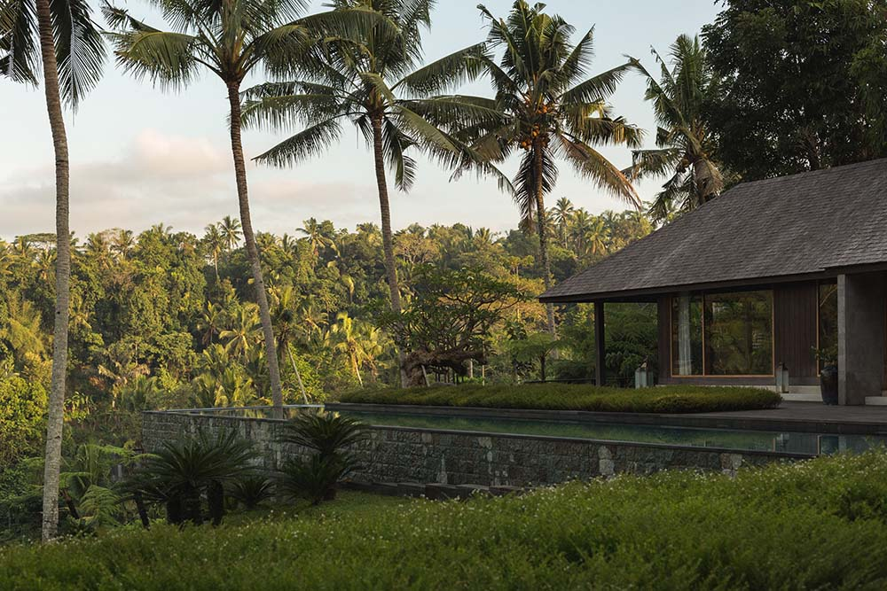 The mosaic stone wall on the side of the house supports the infinity pool at the side of the house with a view of the treetops and tall tropical trees.