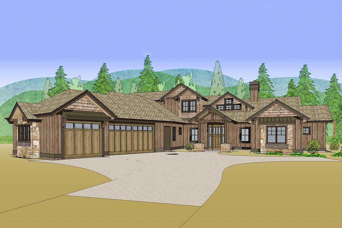 Front perspective sketch of the two-story 4-bedroom mountain ranch home.