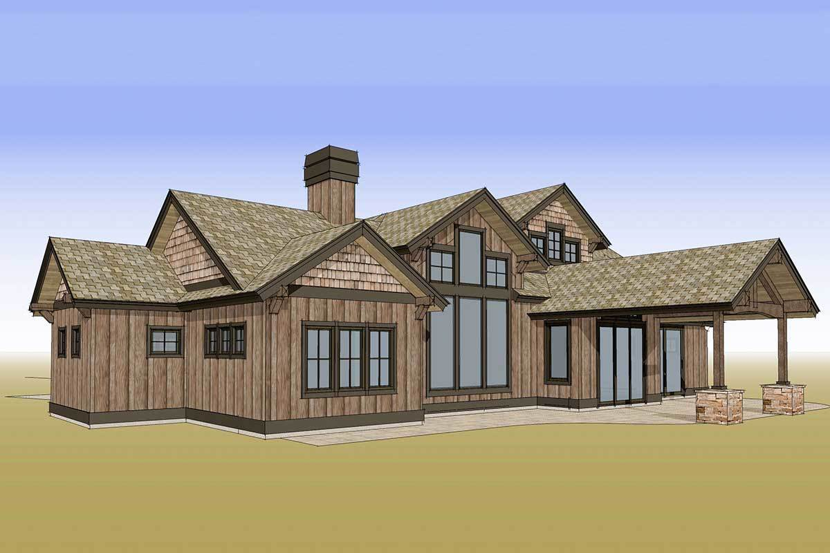 Rear perspective sketch of the two-story 4-bedroom mountain ranch home.
