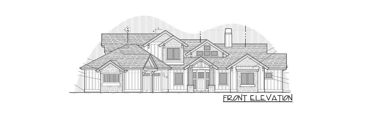 Front elevation sketch of the two-story 4-bedroom mountain ranch home.