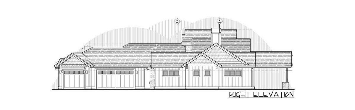 Right elevation sketch of the two-story 4-bedroom mountain ranch home.