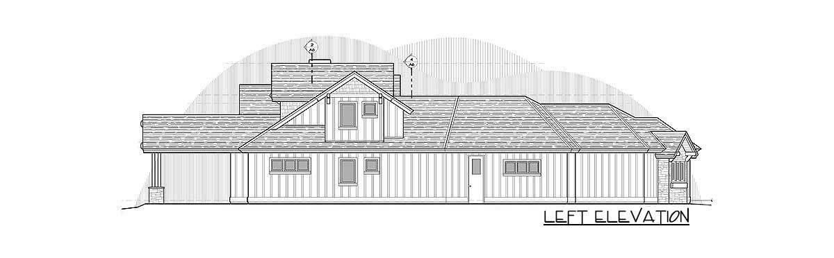 Left elevation sketch of the two-story 4-bedroom mountain ranch home.