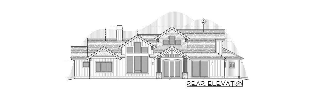 Rear elevation sketch of the two-story 4-bedroom mountain ranch home.