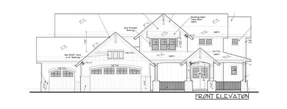 Front elevation sketch of the two-story 4-bedroom New American mountain home.