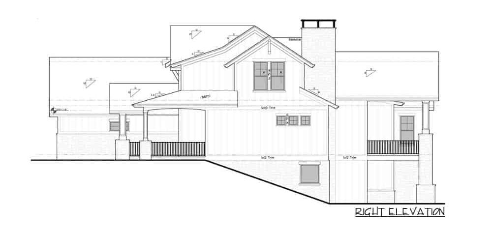 Right elevation sketch of the two-story 4-bedroom New American mountain home.