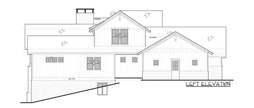 Left elevation sketch of the two-story 4-bedroom New American mountain home.