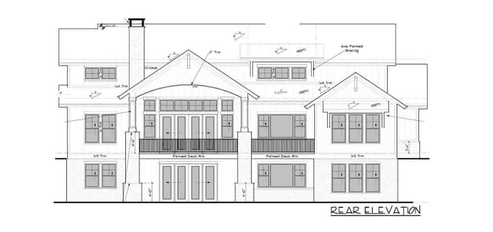 Rear elevation sketch of the two-story 4-bedroom New American mountain home.