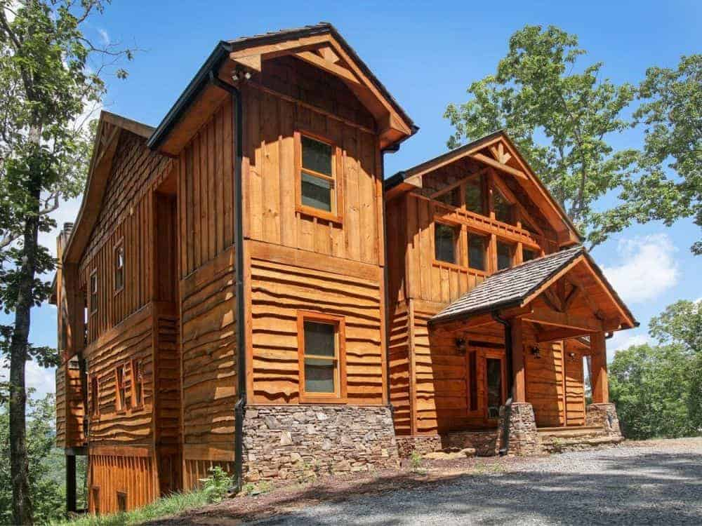 Two-Story 4-Bedroom Rustic Mountain Home for Rear Sloping Lot with Balcony