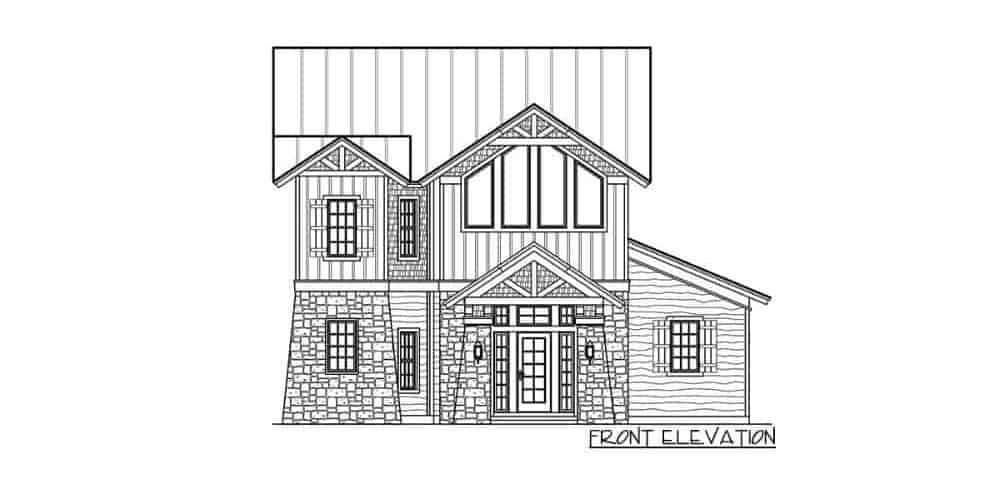 Front elevation sketch of the two-story 4-bedroom rustic mountain home.