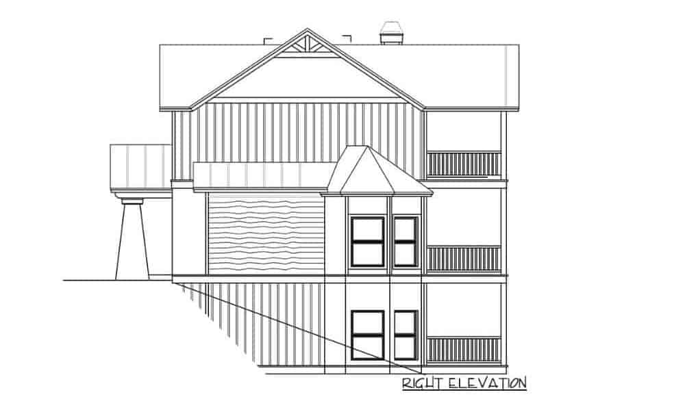 Right elevation sketch of the two-story 4-bedroom rustic mountain home.