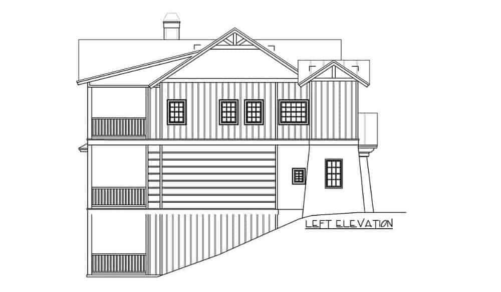 Left elevation sketch of the two-story 4-bedroom rustic mountain home.